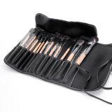 cepillos de madera del polvo del labio de la sombra de ojo de la maneta de las herramientas cosméticas del caso del maquillaje de Brown de la manera del kit del conjunto de cepillo del maquillaje 12PCS