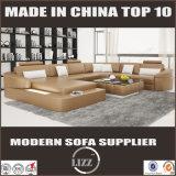 Sofá seccional de cuero de Divany para la sala de estar con las luces del LED