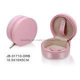 楕円形の形のピンクの革ジッパー旅行宝石類の収納箱の宝石箱