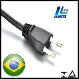 enchufe del cable eléctrico de 12A/16A 250V el Brasil de OEM 2-Pin