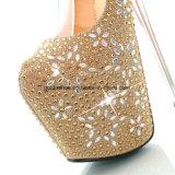 La plate-forme superbe personnalisée de Rhinestone sexy gîtent légèrement les chaussures transparentes de talons