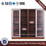 Meubles de bureau modernes de mélamine de portes de bibliothèque en verre en aluminium de bureau (HX-4FL003)