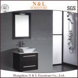 Vaidade do banheiro do carvalho da mobília do banheiro de N&L com a bacia de lavagem de vidro