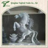 Cavallo del calcare intagliato mano che intaglia la scultura della pietra blu