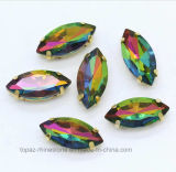 Oval Boat Rainbow Color Crystal Sew sur le réglage de perles de verre strass (SW-Boat 9 * 18 couleur arc-en-ciel)