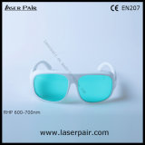 Marco simple blanco 52 de los anteojos rojos de la protección de ojo de vidrios de la protección de laser 600-700nm