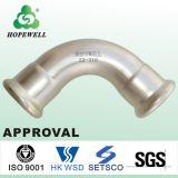 Alta calidad Inox que sondea el acero inoxidable sanitario 304 316 guarniciones apropiadas del agua de la te de las instalaciones de tuberías de la prensa curva de 45 grados