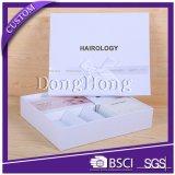 Роскошь коробки подарка текстуры высокого качества белой подгонянная бумагой упаковывая
