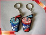Trousseau de clés en caoutchouc doux de promotion de trousseau de clés de PVC d'affaires