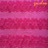 網が付いている綿の刺繍のレースファブリック