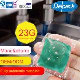cápsula líquida verde do detergente de lavanderia 20-23G, vagem do detergente de lavanderia de OEM&ODM, cápsula do detergente de lavanderia da concentração 4X