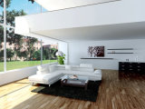 Conjunto seccional de cuero italiano elegante blanco del sofá del diseño moderno