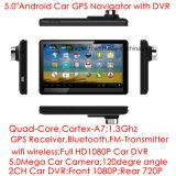 5.0inch capacitivos Multi-Tocam no PC Android da tabuleta da navegação do GPS do carro com 2CH o carro DVR, câmera do carro 5.0mega, WiFi; Bluetooth; FM-Transmissor; Navegador do GPS