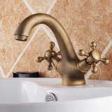 Flg Antique Brass Washroom Double Handle Basin Faucet