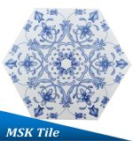 インクジェットBlue&Whiteの床の六角形のタイルMskqhc002