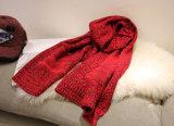겨울 숙녀는 포켓을%s 가진 긴 아크릴 스카프를 데운다