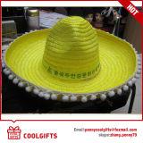 Chapéu de palha de papel mexicano liso desproporcionado colorido para o verão