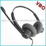 Auriculares do USB do centro de chamadas da parte alta com controle do mudo e de volume