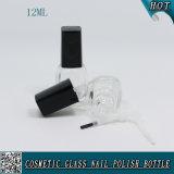 La bottiglia di vetro con la protezione di Poilsh del chiodo e la spazzola 12ml svuotano la bottiglia del polacco di chiodo