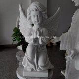 묘지를 위한 백색 대리석 작은 천사 조각품