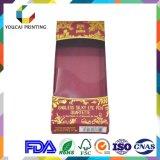 Rectángulo de empaquetado cosmético de la impresión en color del papel de arte del OEM 400g de la fábrica 4 con el modelo caliente de la hoja de la ventana del acetato