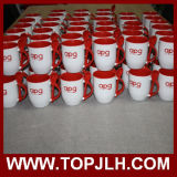 Tazza di caffè di ceramica di doppio colore con il cucchiaio