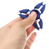 Hilandero azul de la mano del metal del juguete de la persona agitada de la aleación de aluminio del Tri-Hilandero