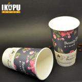 cuvette de thé chaude de la cuvette 16oz de papier de café de cuvette de mur remplaçable de double