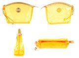 Sac transparent de produit de beauté de PVC de jaune de forme de boulette