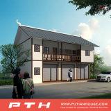 ガレージが付いている2階建てのプレハブの別荘の家
