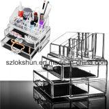 Organizador acrílico com gavetas, indicador cosmético acrílico da composição do espaço livre