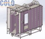 Através da cabine de pulverizador do revestimento do pó da alimentação