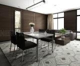 熱い販売の白いガラス上のステンレス製の足の現代食堂テーブルおよび椅子(NK-DT201-2)