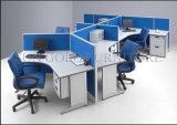 Poste de travail incurvé par bureau en bois différent moderne de serpent de compartiments de forme (SZ-WS342)