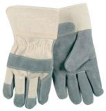 Gants industriels gris durables de cuir fendu de vache