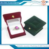 Caja europea de encargo del anillo del terciopelo del estilo de la caja de joyería