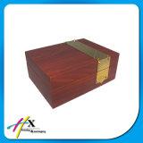 Caixa de armazenamento de madeira luxuosa do anel da inserção do couro da caixa de armazenamento do relógio do negócio