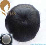 Mono plutônio de seda da base em torno do Toupee dos homens do cabelo humano de Remy