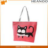 Большинств мешки Tote вышитой ткани популярного кота милые красные большие