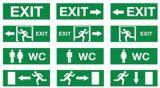 Il Wc esce il segno, indicatore luminoso Emergency, segno dell'uscita di sicurezza del LED