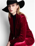 Women L51634のためのあつらえのFashion Stylish Red Wine Velvet Suit