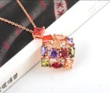 18k Golden Plated Colorful Zircon Female Necklace (CNL0032-C)