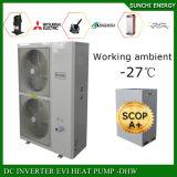 Europe du Nord -25c Hiver Utiliser 55c eau chaude 12kw / 19kw / 35kw / 70kw Evi Air Source Pompe à chaleur Chauffe-eau Chaleur radiante 100 ~ 350sq Meter House