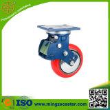 Echador de la absorción de choque con la rueda de la PU del rojo de 200m m