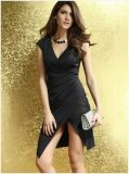 OEM Deep V-Neck alta cintura Sexy Black Women Split Dresses