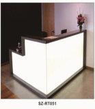 Aspect moderne L bureau de réception supérieur en verre de bureau de forme (SZ-RT034)