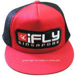 Bill plano Snapback Trucker Cap con Custom Raised Embroidery Logo