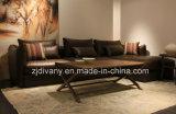 Europäisches modernes Klassiker-Gewebe-Sofa-Schwarz-Leder-Sofa (D-74-D+B+D)