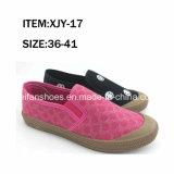 最も新しい固体女性の注入のキャンバスの履物の余暇の靴(FFXJY-25)