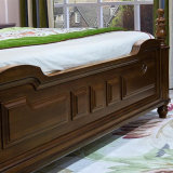 Cama de couro de madeira sólida estilo americano para móveis de quarto As818